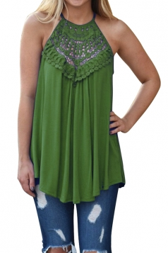 Halter Sleeveless Lace Patchwork Cut Out Loose Tank Top Green