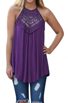 Halter Sleeveless Lace Patchwork Cut Out Loose Tank Top Purple
