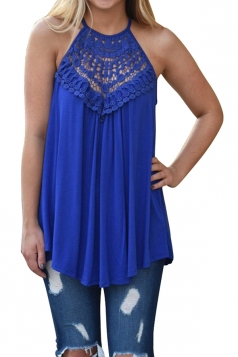 Halter Sleeveless Lace Patchwork Cut Out Loose Tank Top Sapphire Blue