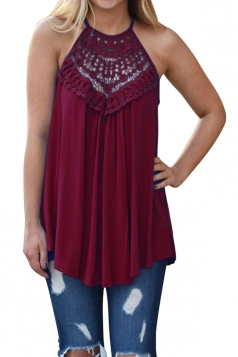 Halter Sleeveless Lace Patchwork Cut Out Loose Tank Top Ruby