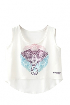 Crew Neck Sleeveless Elephant Totem High Low Hem Crop Tank Top White