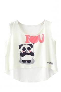 Crew Neck Sleeveless Panda Print High Low Hem Crop Rank Top White