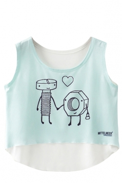 Crew Neck Cartoon Bolt Print High Low Hem Crop Tank Top Aquamarine