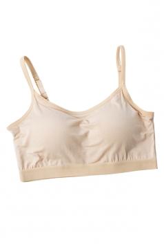 Sports Style Push Up Plain Bra Camisole Crop Top Apricot