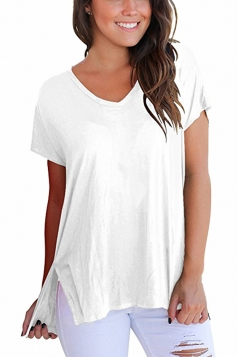 Womens Loose V Neck Short Sleeve High Low Side Slit Top White