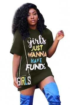 Crew Neck Short Sleeve Letter Print Loose Hot Shirt Dress Olive Green