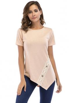 Crew Neck Short Sleeve Asymmetrical Hem Lace Patchwork T Shirt Apricot