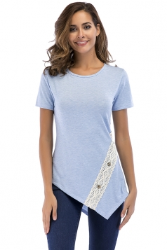 Crew Neck Short Sleeve Asymmetrical Hem Lace Patchwork T Shirt Blue
