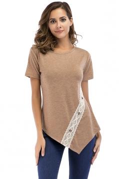 Crew Neck Short Sleeve Asymmetrical Hem Lace Patchwork T Shirt Khaki