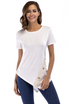 Crew Neck Short Sleeve Asymmetrical Hem Lace Patchwork T Shirt White
