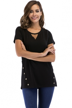 Crew Neck Short Sleeve Double Buttons Loose Plain T Shirt Black