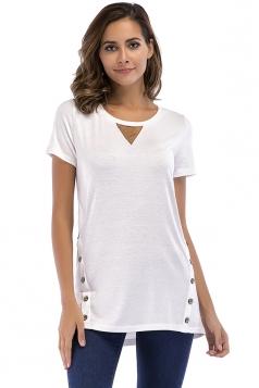 Crew Neck Short Sleeve Double Buttons Loose Plain T Shirt White