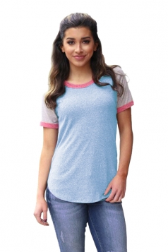 Crew Neck Short Raglan Sleeve Color Block Loose T Shirt Light Blue