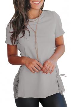 Crew Neck Short Sleeve Lace Patchwork Cross Lace Up Plain T Shirt Grey