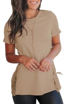 Crew Neck Short Sleeve Lace Patchwork Cross Lace Up Plain T Shirt Khaki