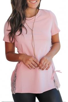 Crew Neck Short Sleeve Lace Patchwork Cross Lace Up Plain T Shirt Pink