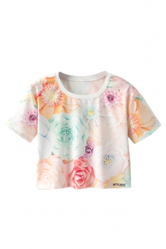 Crew Neck Short Sleeve Colorful Flowers Double Side Print Crop Top
