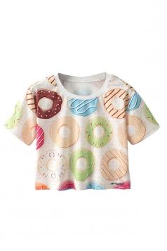 Crew Neck Short Sleeve Doughnuts Double Side Print Crop Top
