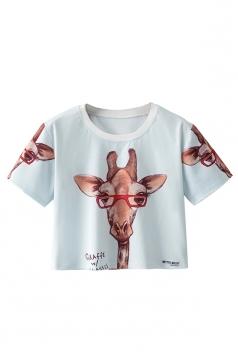 Cute Crew Neck Short Sleeve Giraffe Double Side Print Crop Top Blue