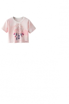 Crew Neck Short Sleeve Feather Double Side Print Crop Top Pink