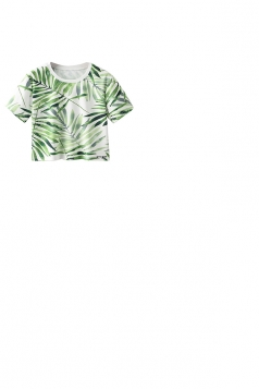 Crew Neck Short Sleeve Bamboo Leaf Double Side Print Crop Top Green