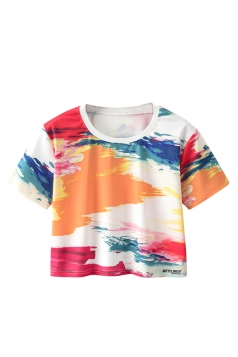 Crew Neck Short Sleeve Colorful Splash-Ink Double Side Print Crop Top