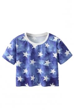 Crew Neck Short Sleeve Stars Double Side Print Crop Top Blue