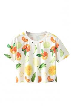 Crew Neck Short Sleeve Orange Double Side Print Crop Top White