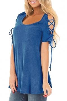 Eyelet Lace Up Cold Shoulder Short Sleeve Loose Plain T Shirt Blue