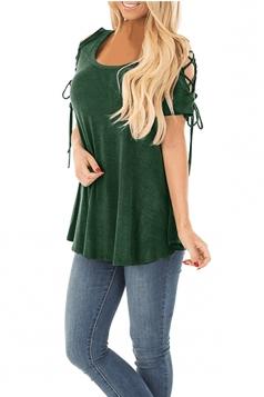 Eyelet Lace Up Cold Shoulder Short Sleeve Loose Plain T Shirt Green