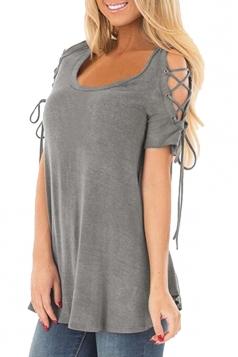 Eyelet Lace Up Cold Shoulder Short Sleeve Loose Plain T Shirt Gray