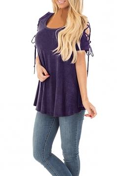 Eyelet Lace Up Cold Shoulder Short Sleeve Loose Plain T Shirt Purple