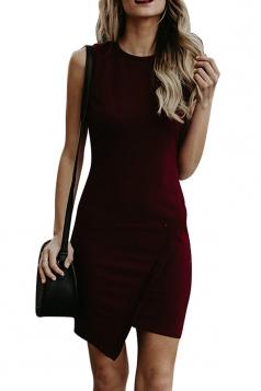 Elegant Crew Neck Sleeveless Asymmetrical Hem Plain Bodycon Dress Ruby