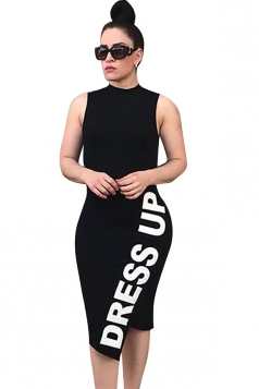 Sleeveless Letter Print Back Cut Out Plus Size Bodycon Midi Dress Black