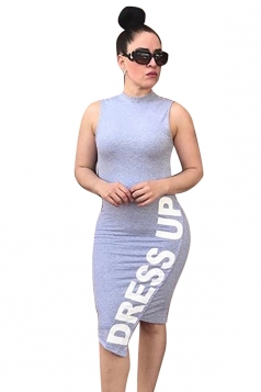 Sleeveless Letter Print Back Cut Out Plus Size Bodycon Midi Dress Grey