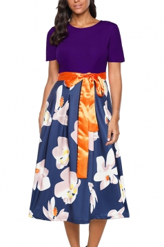 Crew Neck Short Sleeve Waist Tie Floral Print Loose Midi Dress Purple