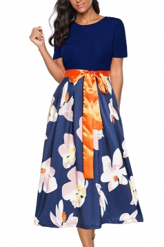 Crew Neck Short Sleeve Waist Tie Floral Print Midi Dress Navy Blue