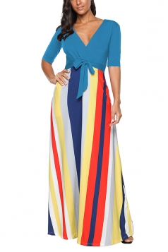 V Neck Half Sleeve Tie Waist Color Block Loose Maxi Dress Light Blue