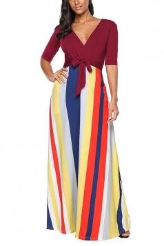 V Neck Half Sleeve Tie Waist Stripe Print Color Block Maxi Dress Ruby