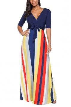 V Neck Half Sleeve Tie Waist Color Block Loose Maxi Dress Navy Blue