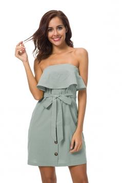 Strapless Ruffle Hem Tie Waist Shirred Tube Dress Green
