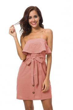Strapless Ruffle Hem Tie Waist Shirred Tube Dress Pink