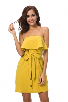 Strapless Ruffle Hem Tie Waist Shirred Tube Dress Yellow
