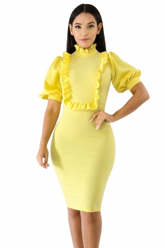 Short Sleeve Ruffle Lantern Sleeve Plain Bodycon Midi Dress Yellow