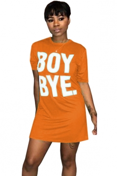 Crew Neck Short Sleeve Letter Print Shirt Dress Orange