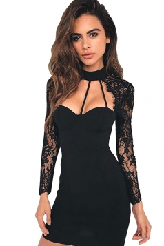Cut Out Neck Lace Patchwork Zipper Bodycon Plain Mini Club Dress Black