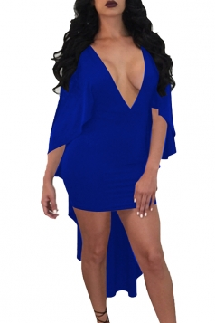 Sexy Deep V Neck Half Sleeve Dip Hem Plain Club Dress Sapphire Blue