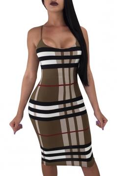 Spaghetti Straps Plaid Patchwork Midi Bodycon Club Slip Dress Coffee