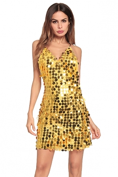 Halter Spaghetti Straps V Neck Backless Sequin Mini Club Dress Gold