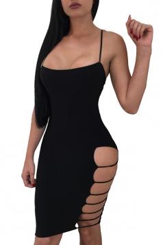 Backless Cut Out Side Plain Bodycon Clubwear Slip Dress Black